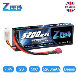 Zeee 7.4V Lipo Battery 2S 50C 5200mAh Lipos Hard Case Deans T for RC Car Trucks