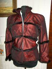 Veste  bordeaux brillant patineuse bordure fourure JOSETTE MOLKO PARIS 42/44