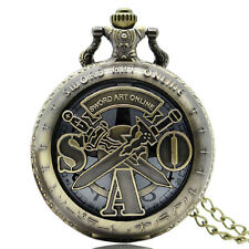 Sword Art Online Bronze Quartz Pocket Watch Retro Cool Steampunk Mens Boys Gift