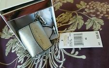 MICHEAL KORS AVA BAG CHARMS KEYCHAIN SILVER SAFFRON LEATHER  $58