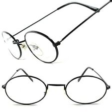 Classic Vintage Retro Fashion Old School Hippie Oval Frames Clear Lens Glasses