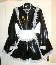 Misfitz black/white pvc padlock collar sissy Maids dress size 20