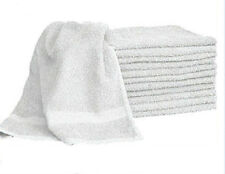 1 DOZEN WHITE  HAIR/BATH TOWELS 20x40 100% COTTON WHOLESALE LOT UTILITY TOWELS