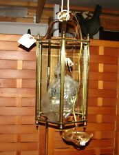 Glass /Brass Hanging Ceiling Light Fixture Five Lights