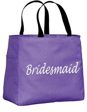 Single Color Custom Printed Text/Inital Polyester Bridesmaids Tote Bags