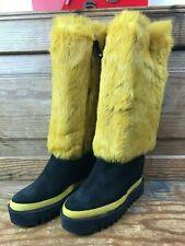 PALOMITAS By Paloma Barcelo Mustard Yellow Suede & Real Fur Boots EU 37 UK 4 BN