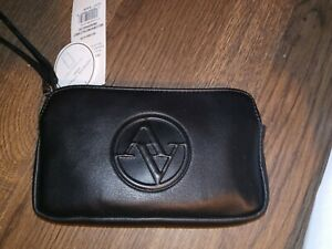 Adrienne Vittadini Single Compartment Zip RAISED LOGO Wristlet Wallet NWT BLACK
