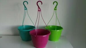 """CTI Decorative Plastic 10"""" Flared Hanging Basket Green Pink Or Turquoise New"""