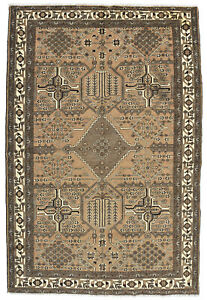 Vintage Turkish Anatolian Rug, 7'x10', Brown, Hand-Knotted Wool Pile
