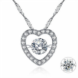 """Dancing Gemstone 925 Solid Sterling Silver Cubic Zirconia Pendant Necklace 18"""""""