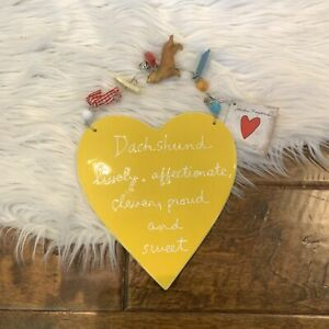 Dept 56 Dachshund Ceramic Plaque Heart Art Sandra Magsamen Yellow weiner dog New