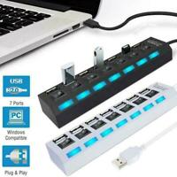 USB 2.0 Hub Charger Switch Splitter Powered AC Adapter 7-Port PC Laptop Desktop