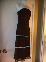 Womens Size 10 dress PROM Wedding Guest Forever Yours Tube Top Brown Blue Large