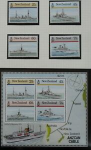 NEW ZEALAND stamps – 1985 Naval History set MNH  (4+MS)