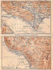Pallanza Stresa Lago Maggiore Langensee um 1897 historische alte Landkarte map