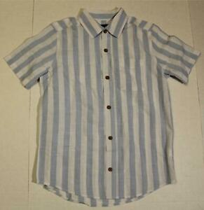 The Children's Place Boy's S/S Striped Button-Up Shirt NA8 Brook Blue Large NWT