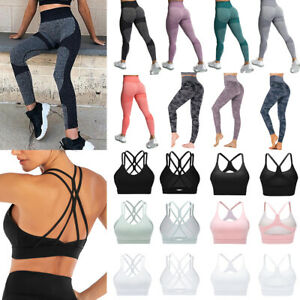 High Waisted Seamless Yoga Leggings+Sports Bra Padded Camo Yoga Pants for Women