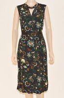 Per Una M&S Black Vintage Tea Brown Green Floral Tunic Shirt Dress Size 10-24 A4