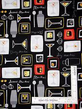 Martini Olive Alcohol Drink Cotton Fabric Kanvas Studio Shaken Stirred - Yard