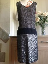 Luxe By Warehouse Black Fully Embellished Dress Size-8 Very Lovely Condition