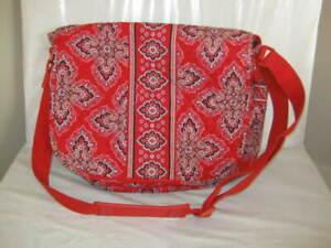 Vera Bradley Frankly Scarlet MESSENGER School Travel Crossbody Bag 11.5 x 14 x4