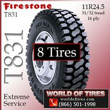 Heavy Duty Commercial Tires Firestone T831 11R24.5 8 Tires FREE SHIPPING