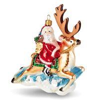 Hallmark 2018 Folk Art Santa Reindeer Blown Glass Made Poland NIB Heritage Ornmt