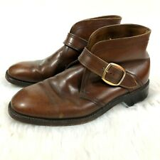 Florsheim Mens 7 Brown Leather Ankle Boots Monk Strap Buckle