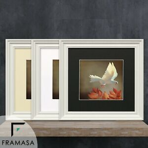 Square Big Swept Photo Frames Black Picture poster Frame White & Oak With Mounts