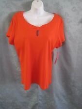 Rafaella Orange Knit Top Plus Size 2X NWT Gathered Keyhole Neckline
