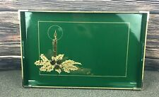 Vintage OTAGIRI Candle Holiday Christmas  Green 11 x 18 Tray GOLD Design Japan
