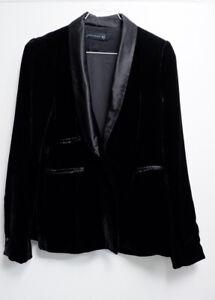 Zara Women's Black Blazer Velvet Jacket Size S Small Uk 8 -10 Silk Blend