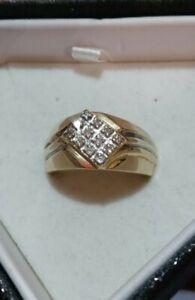 Mens Solid 10k Yellow Gold Diamond Ring Size 10.5-11 Not Scrap 6 Grams 0.30 CTW