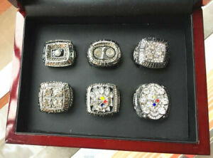 6PCS Pittsburgh Steelers Football Team ring Set With Wooden Box Fan Gift