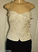 W by WORTH Gold & Natural Vine Textured Jacquard Bustier Camisole sz 6 $298 NWT