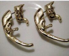 1x Leopard Ear Cuff Stud Earrings Sweep Wrap Vintage Gold Tone Cat gld ECF11