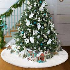 80cm Christmas Tree Long Snow Plush Skirt Floor Mat Cover XMAS Party White Decor