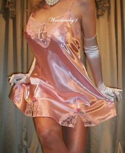 Vtg Style Fair Pink Blush Shiny Satin Lace Slit Babydoll Slip Nightgown 3X 48 50