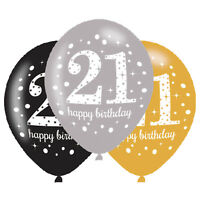 "21st Happy Birthday 11"" Latex Balloons Gold Silver Black Triple Colour Pack of 6"