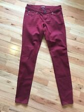 Express Womens Burgundy Low Rise Stretch Cotton Skinny Jeans Jeggings Sz 2