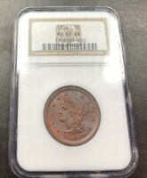 1854 Braided Hair Large Cent NGC MS-67 BN