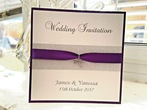 Dragonfly Wedding Invites - Dragonfly Charm & Silver Band with Purple Ribbon