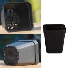 4 pcs Black Nice Square Deep Nursery Pots Black Plastic Plants Flower Pot