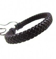Men Unisex Leather Bracelet Bangle Cuff Rope Black Surfer Wrap Adjustable Cool