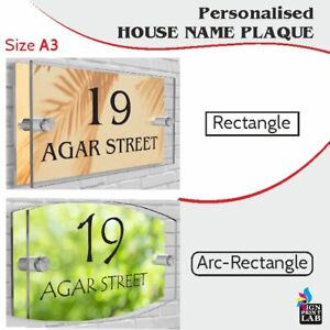 House,Office Sign / Plaque A3 Size (420mm x 297mm) Number Street Name - Acrylic