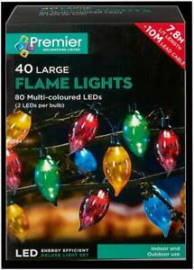 Festive Xmas  40 Deluxe Christmas Flame Lights with 80 Static Multicoloured LEDs