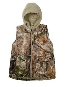 Cabelas Zonz Woodlands Hooded Vest Jacket Camouflage Womens Small *blemish snap