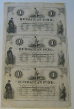 New listing Hungarian Fund - Sheet of (3) One Dollar Notes (2nd February, 1852)