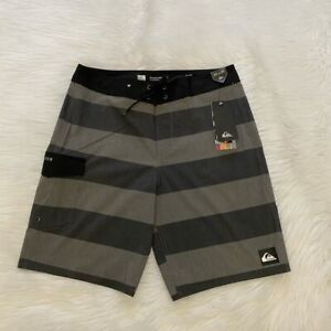NEW wTag-QUIKSIlVER Black/Gray Wide Stripe Board Shorts S, M or XL