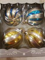 28 Vintage Blown glass swirl stripe Multicolored Christmas Ornaments, Columbia